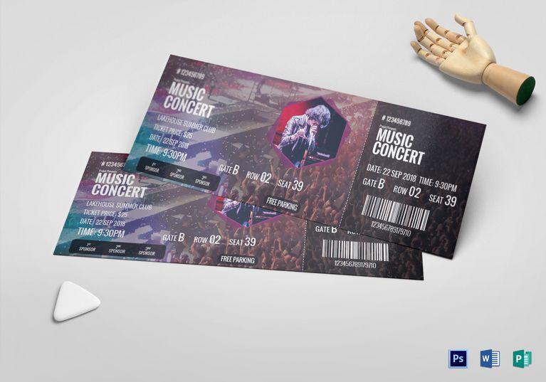 Music Concert Ticket Template Ticket Templates Pinterest
