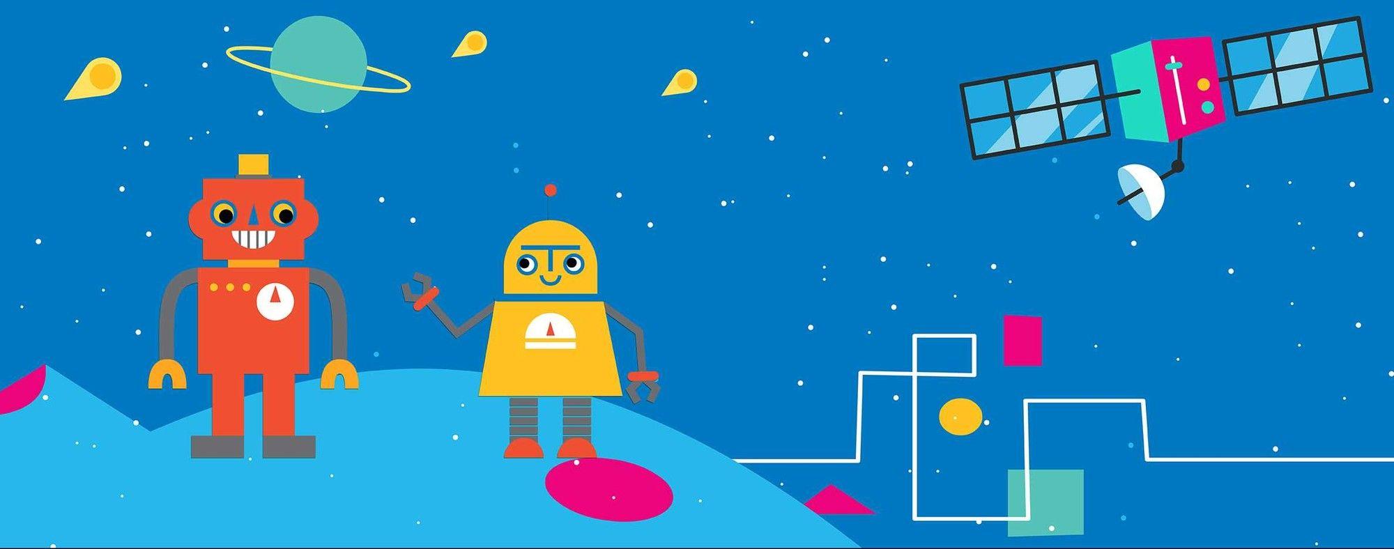 Robots in Space HeadLightz Headboard Image