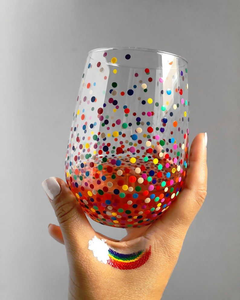Rainbow Confetti Hand Painted Wine Glass Etsy In 2020 Hand Painted Wine Glass Painted Wine Glass Glass Painting Designs