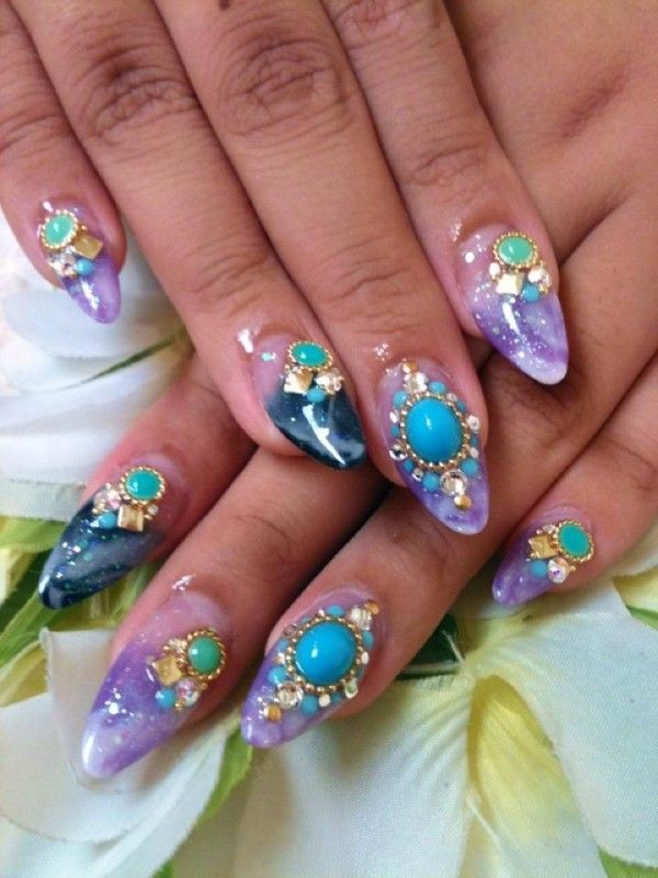 Acrylic Nails With Rhinestones Purple Marble Nails By Ayano