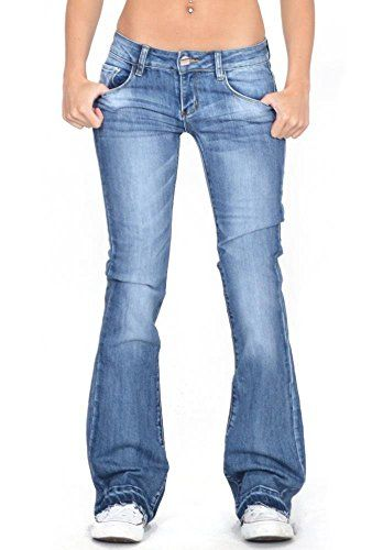 New Ladies Womens Mid Rise Faded Dark Blue Flared Bootcut Stretch Jeans