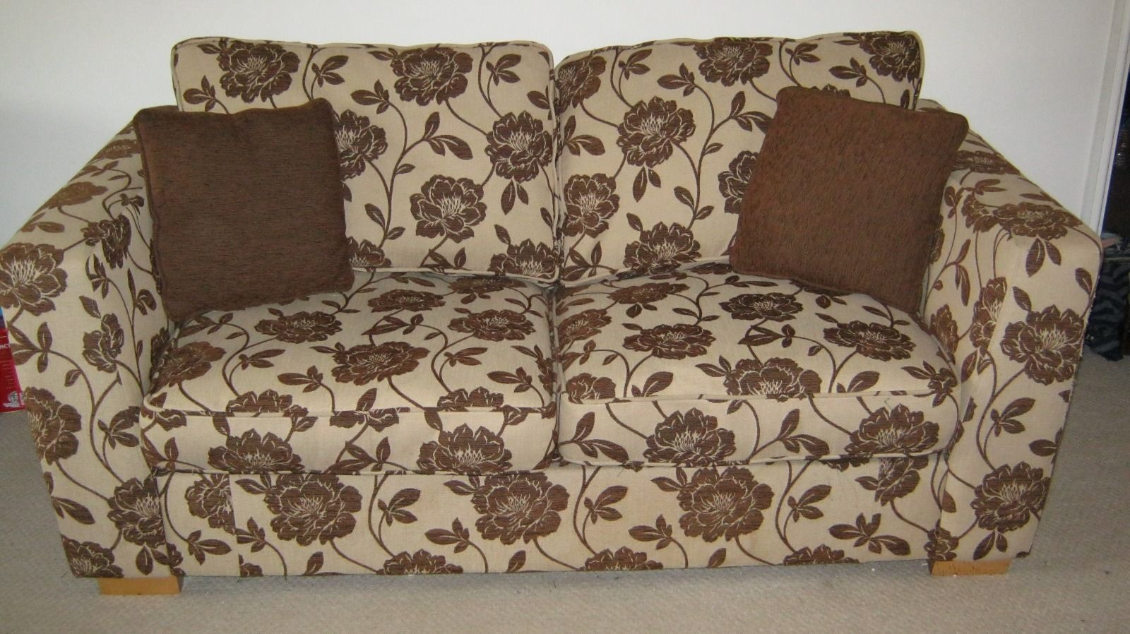 Pleasant Brown Flower Print 2 Seater Dfs Double Sofa Bed Ebay Dailytribune Chair Design For Home Dailytribuneorg