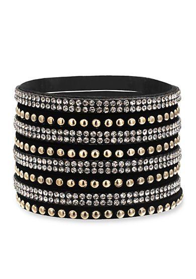 Jules B Two-Tone Haute Hippie Chic Crystal Black Leather Wrap Bracelet