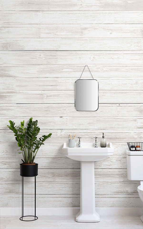 Whitewashed Wood Wallpaper Wooden Effect Design Muralswallpaper Wood Effect Wallpaper Industrial Decor Industrial Wallpaper