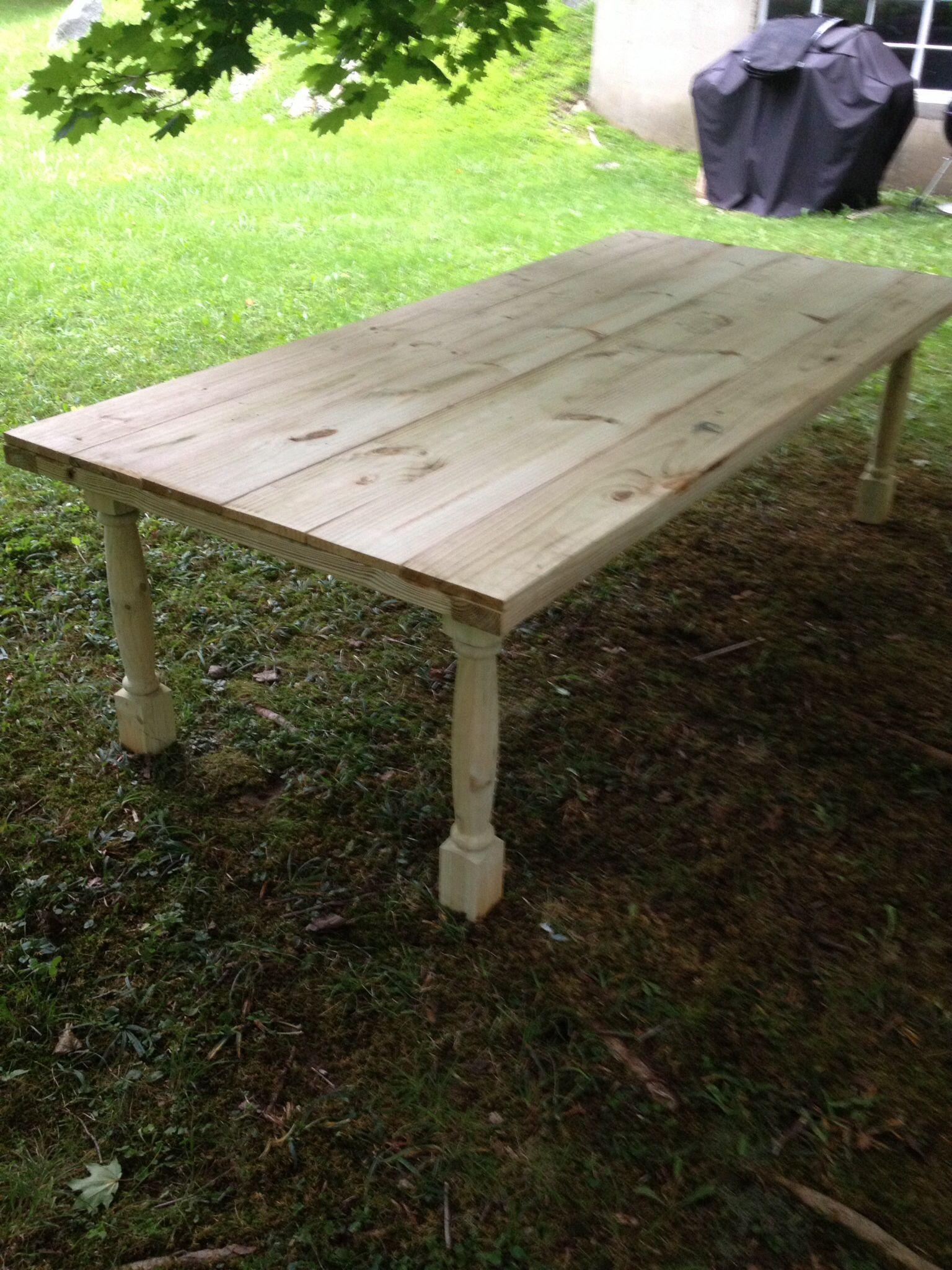 diy farm table post build pre stain outside fun pinterest