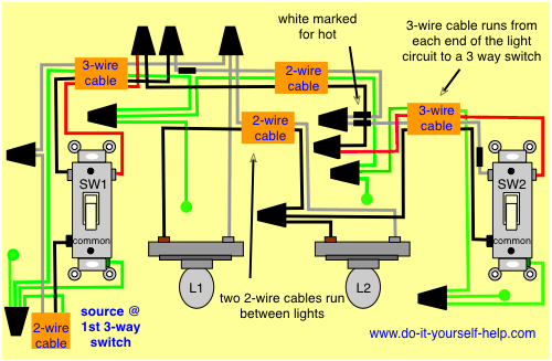 Wiring Diagram 3 Way With 2 Lights