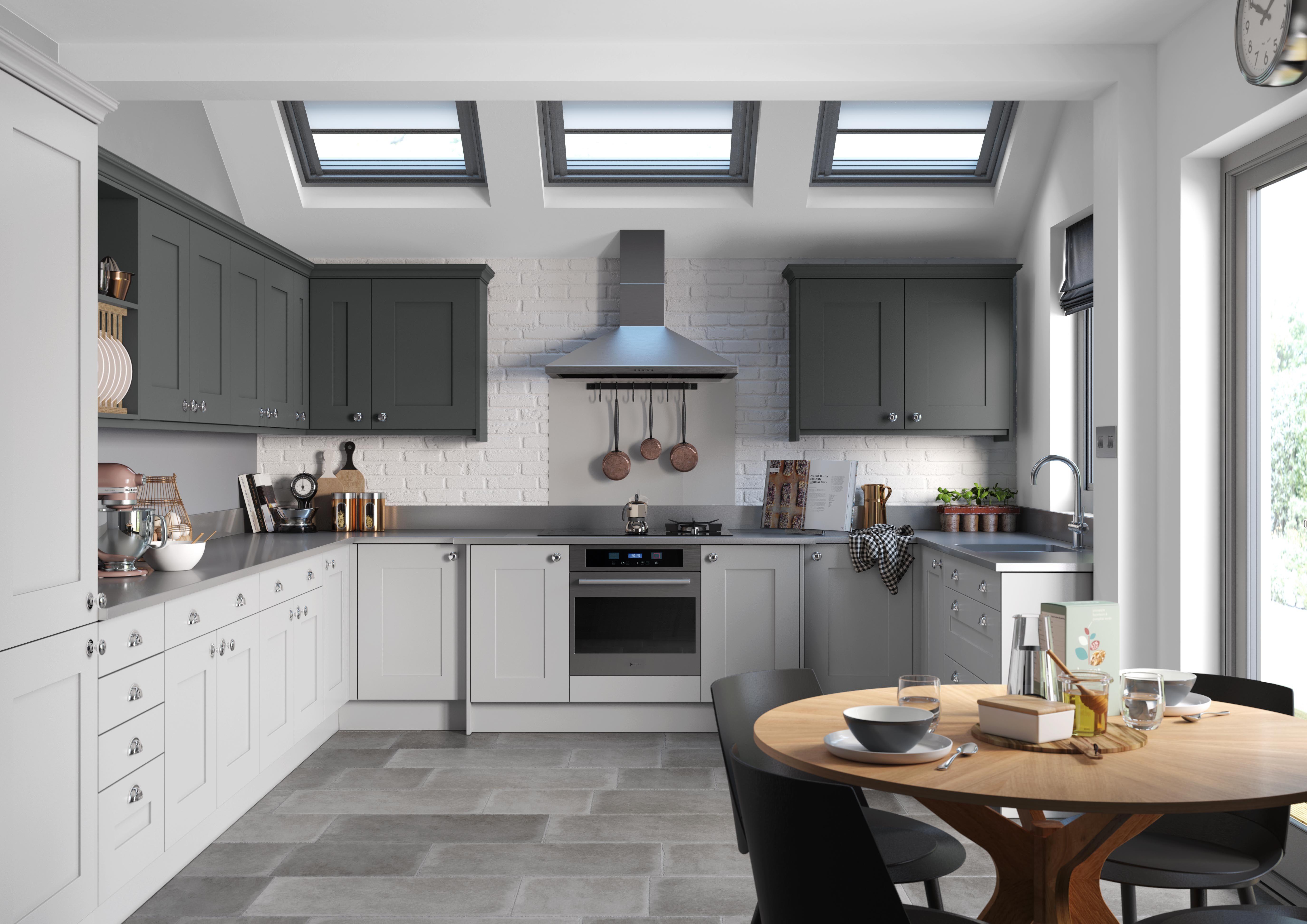 Trend Kitchens Light Grey Plain Shaker and Graphite