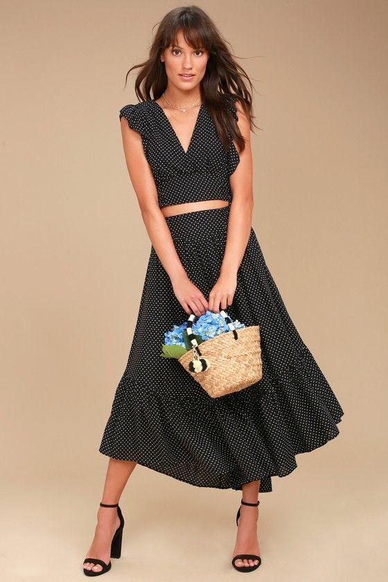 3aa0cb18f5 Free People Pretty Daze Black Polka Dot Two-Piece Dress 1