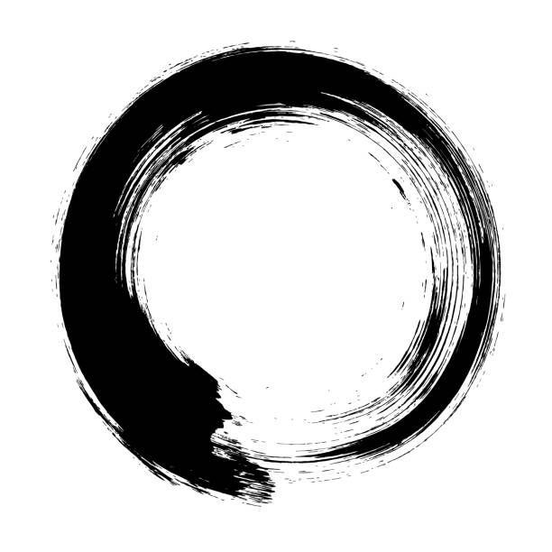 Ensō Character In Black And White, A Circular Brushstroke