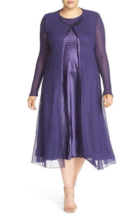 113f3b1b3a6 Komarov Charmeuse Midi Dress with Long Chiffon Jacket (Plus Size ...