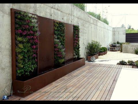 Fuente de acero corten y jard n vertical water feature - Fuente para patio ...