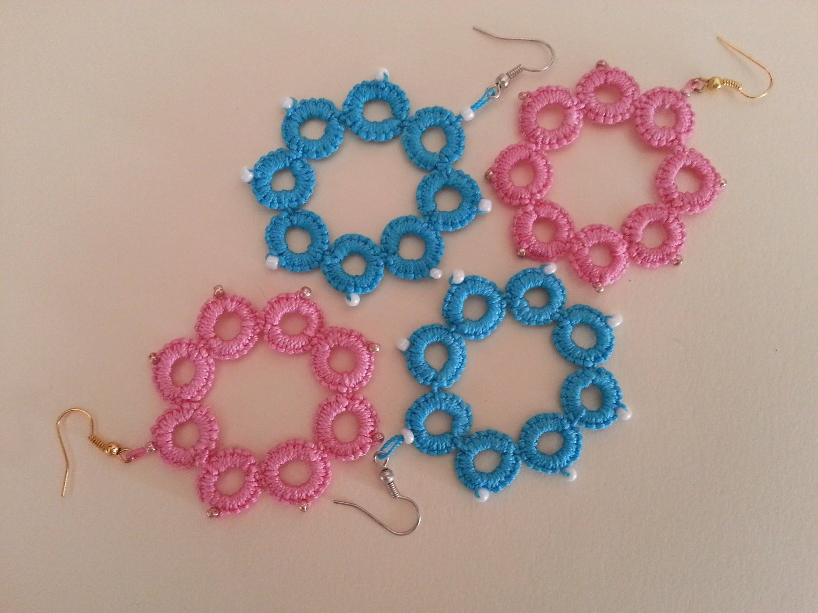 Tutorial, pendientes frivolitê 1 | Tatting Needle | Pinterest ...