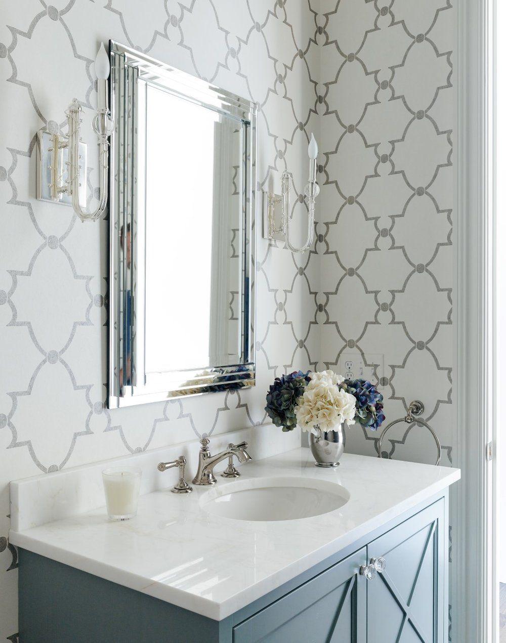 Pattern Play Quatrefoil Cobalt Gold Bathroom Feature Wall Chic Bathrooms Gray Wallpaper Bathroom Fashionable style bathroom wallpaper