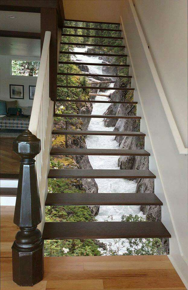 These custom STAIRWAY ART IDEAS are Awesome! This one is a Waterfall from Jasper National Park...beautiful! What do you think?  Find them here --> http://rstyle.me/n/b8wpw5b5zc7