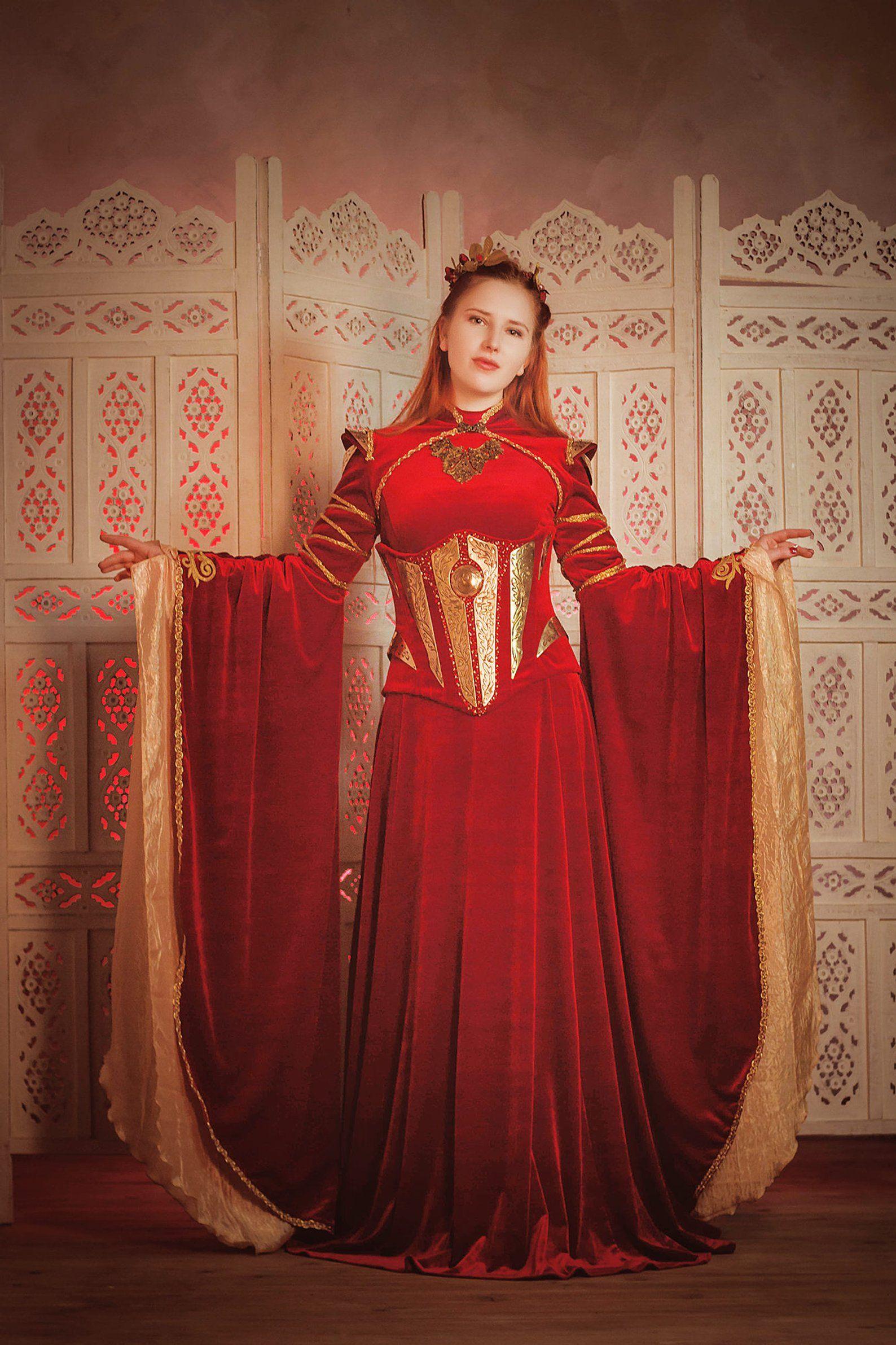 Red velvet elven dress Fantasy gown Corset with metal