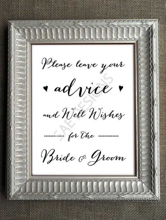 Wedding Day Advice For The Bride And Groom Sign Print Poster Matching Cards Diy Instant Digital Printable 8x10 Reception Weddings