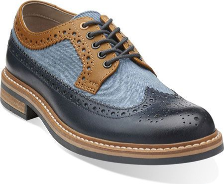Mens Clarks Darby Limit - Blue Combi - FREE Shipping