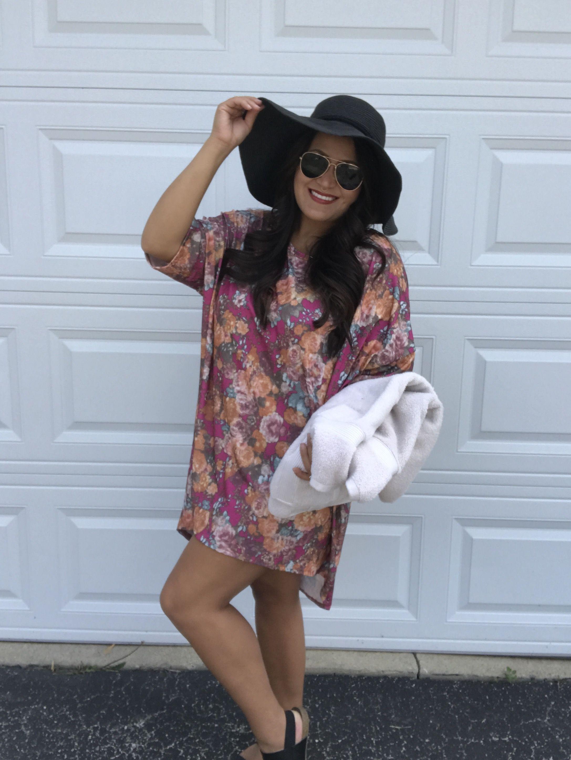 611b9829ce Oversized LuLaRoe Irma as a bathing suit cover-up!   Fashion Forward ...
