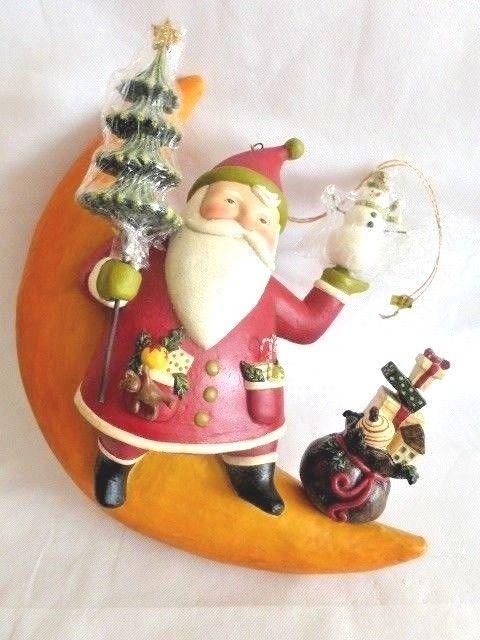 Bethany Lowe Christmas Ornaments.Nwt Greg Guedel For Bethany Lowe Folk Art Santa On Moon