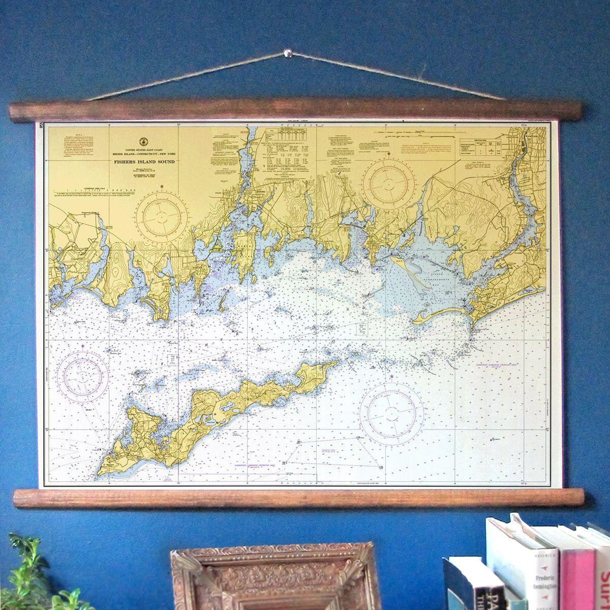 Mystic, CT & Fishers Island Vintage Nautical Chart