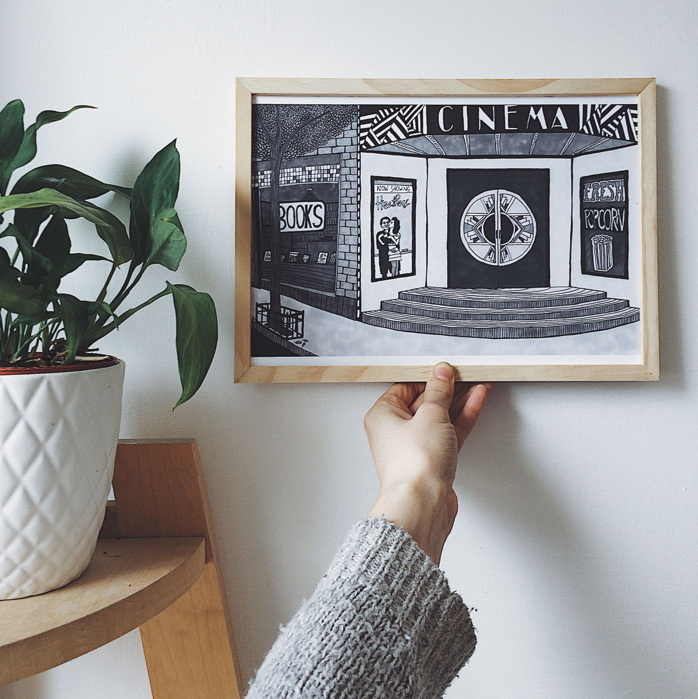 Cinema illustration by carissa tanton available on etsy black and