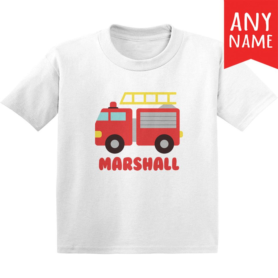 f04249a3346 Fire Truck Kids T-Shirt Fire Truck Custom Name Toddler Shirt | Truck  Toddler Shirt | Fire Engine Kids T-Shirt | Kids T-Shirts With Vehicles Cars,  Trucks