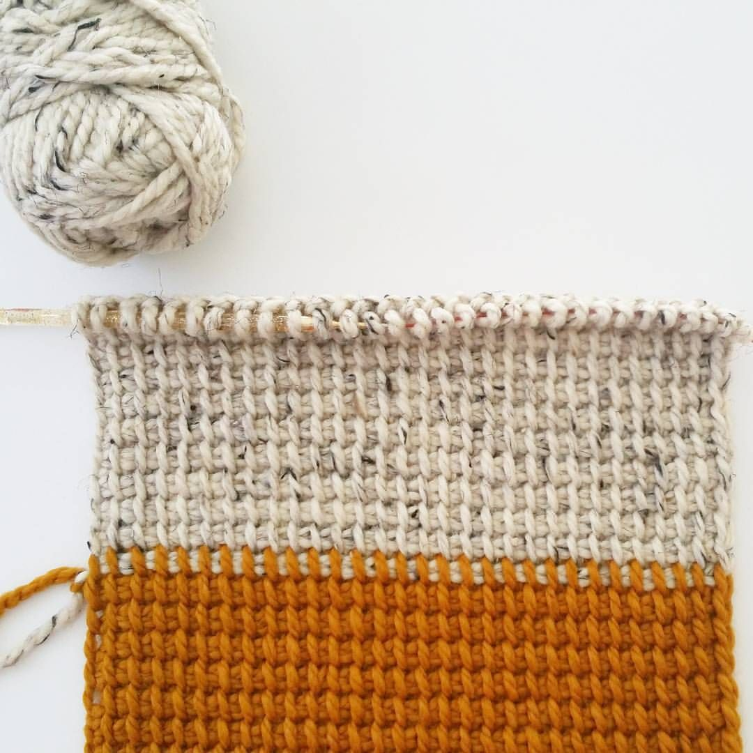 I love the way Tunisian simple stitch color... - bhookedcrochet