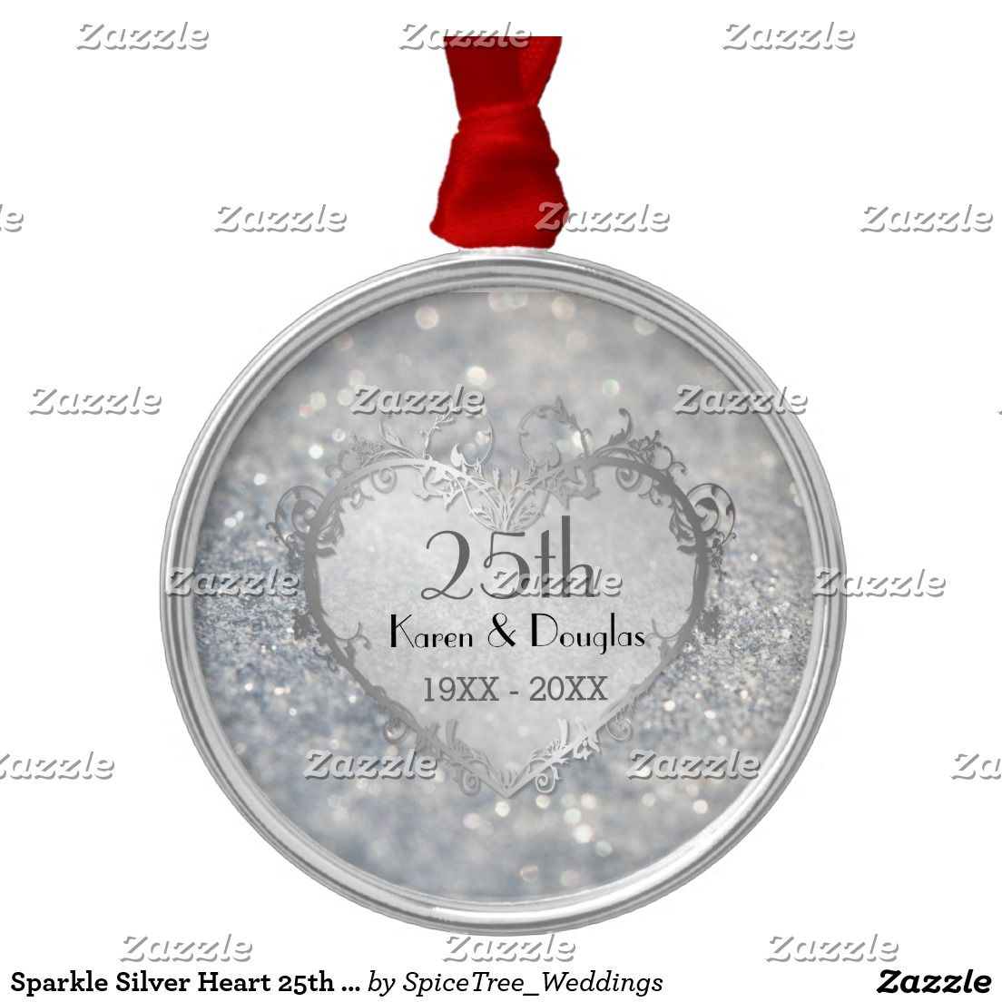 25th wedding anniversary christmas ornament - Sparkle Silver Heart 25th Wedding Anniversary Metal Ornament