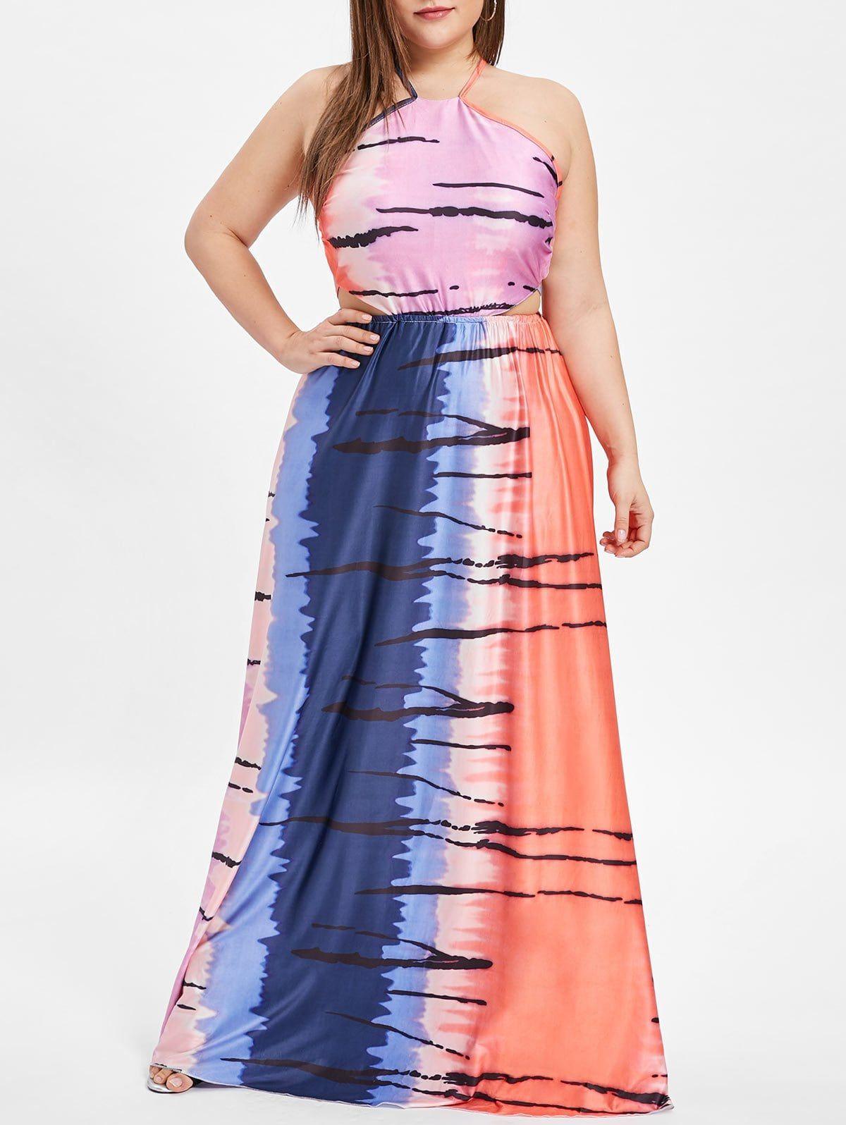 Backless plus size color block maxi dress color block