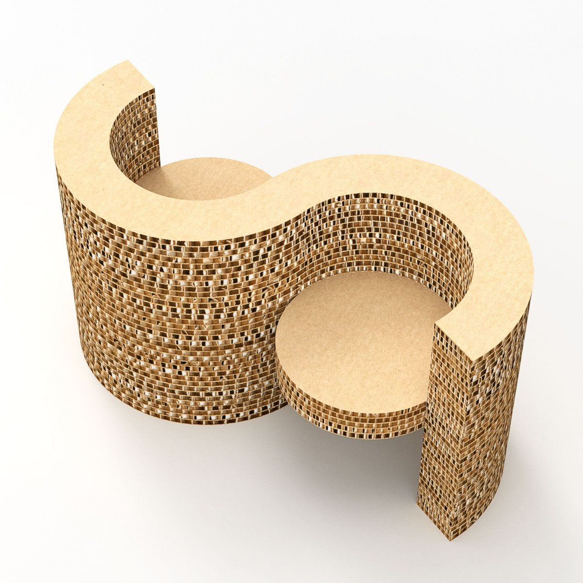 Cardboard Chair Element With Two Seats With Armrests Made Of Cardboard