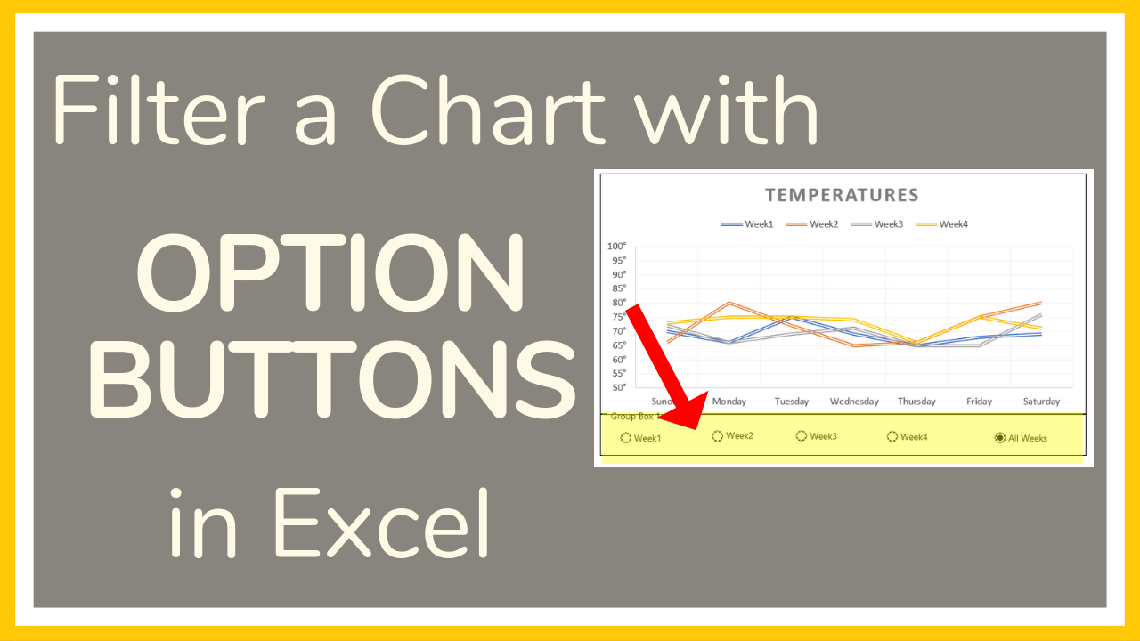 Excel tutorial on how add Option Buttons to filter a chart