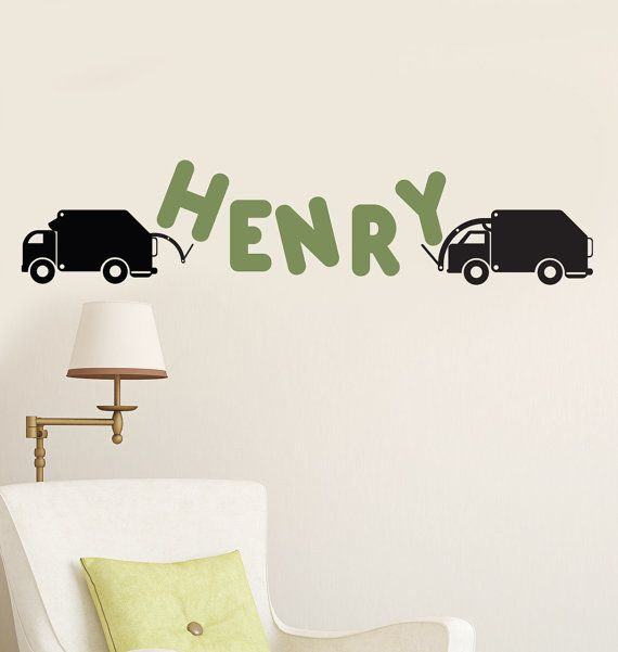 Custom name trucks and letter garbage truck vinyl by decomodwalls 26 00