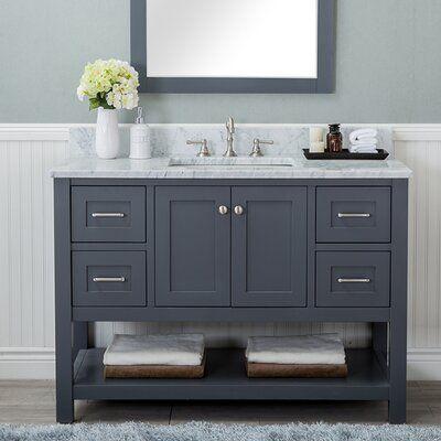 Photo of Warburton 48″ Single Bathroom Vanity Set Base Finish: Gray
