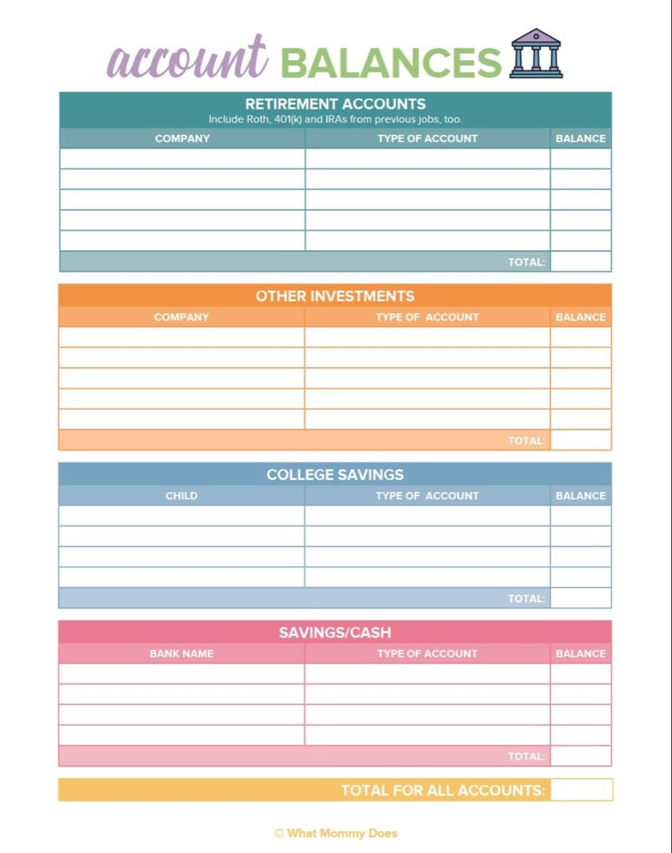 Free Printable Account Balances Tracker Budgeting Worksheets Budget Printables Free Budget