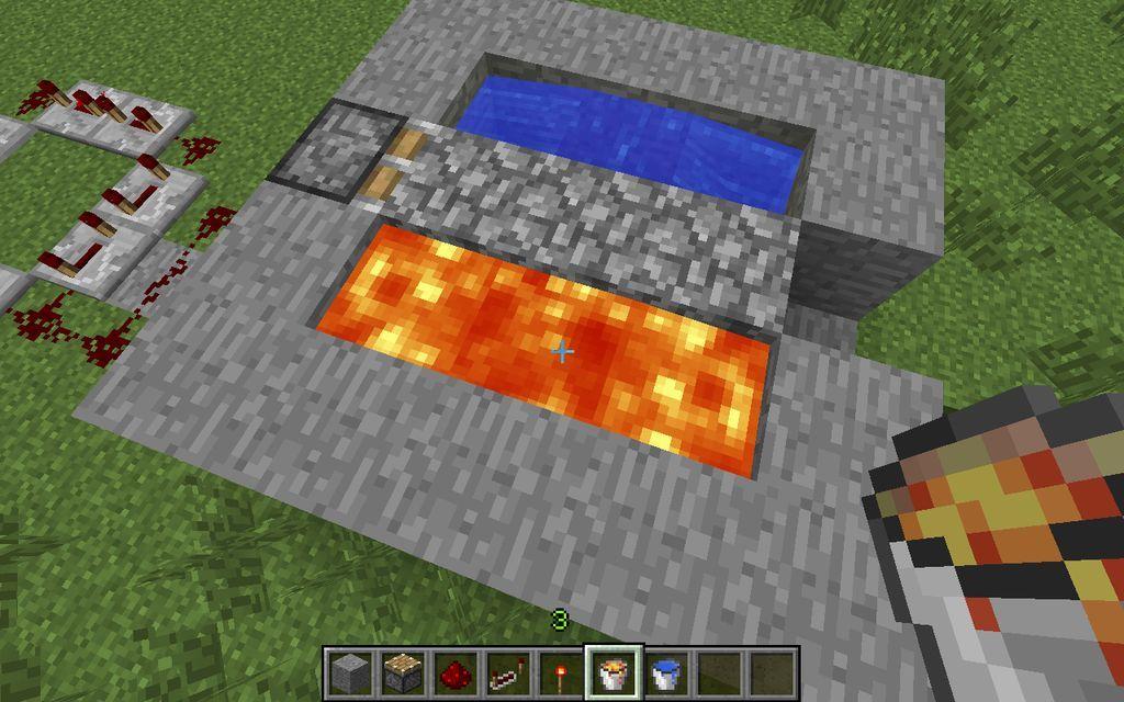 How To Make A Simple Automatic Minecraft Cobblestone Generator Minecraft Minecraft Designs Redstone Creations