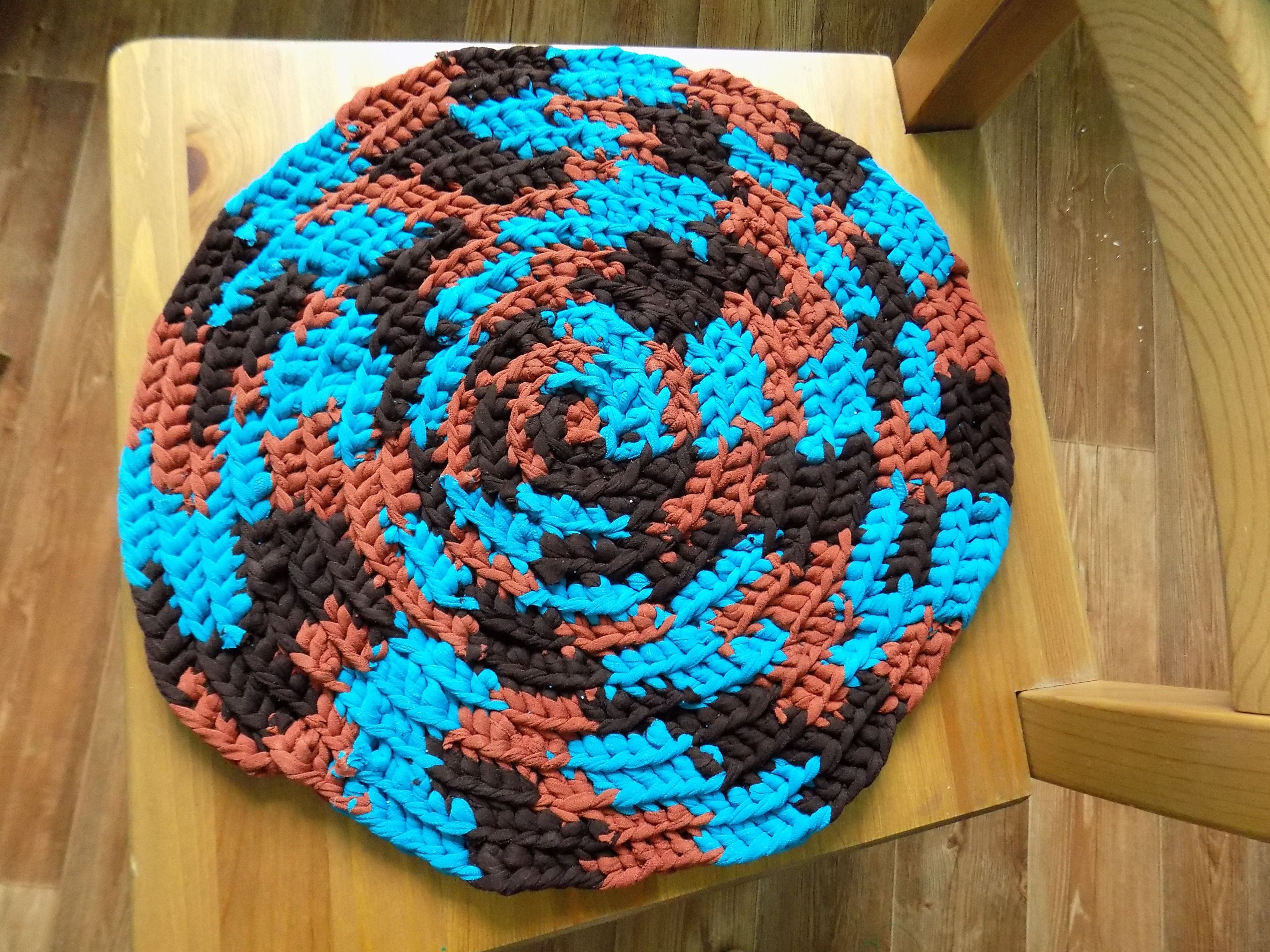 Crochet Table Piece, Blue Round Seat Chair Chair Stool Cover, Crocheted Hot  Pad, Round Placemat, Rustic Blue Table Pet Mat, Chair Cushion Pictures Gallery