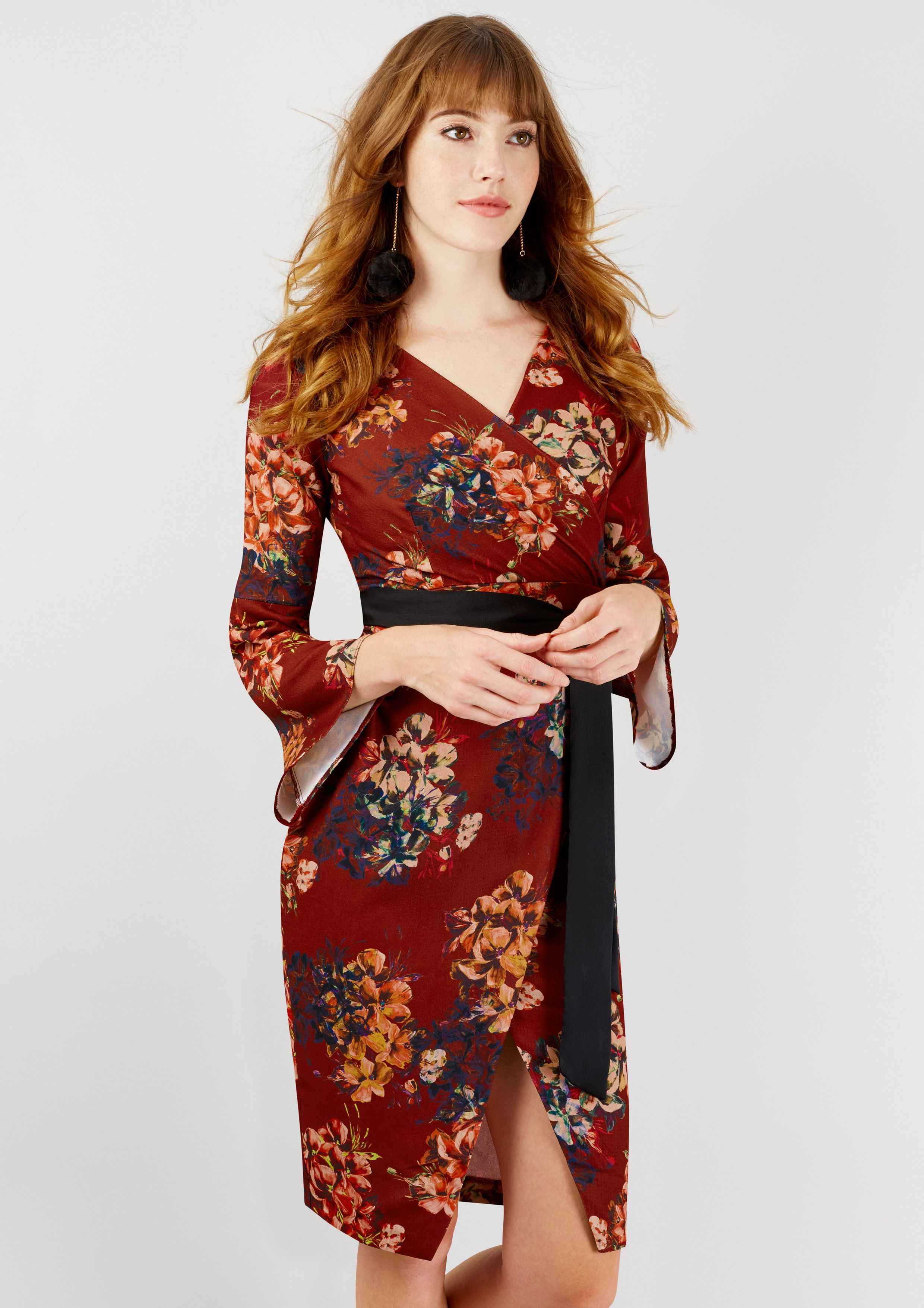 Maroon floral long sleeve wrap dress dresses pinterest wrap