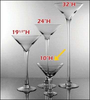 1150ea 4 Pcs 10h Clear Glass Martini Vases Wedding Wholesale
