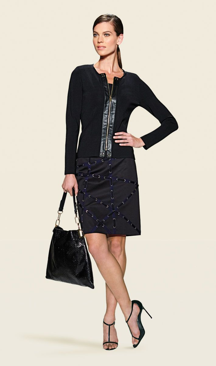 PANTHER black cardigan and undersweater, ANDROMEDA black skirt with blue ribbon trim, PENELOPE black handbag | Carlisle Collection | Per Se | Collections