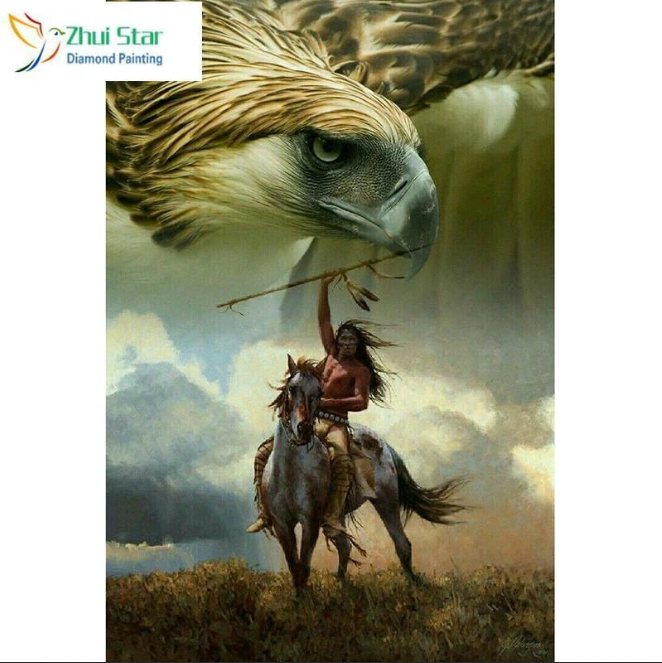 5D Diamond Painting Indian Warrior Hawk Kit in 2020
