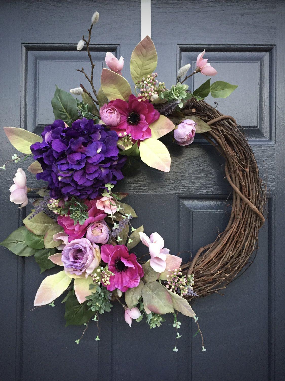 Spring Wreaths, Spring Door Wreath, Purple Wreath, Hydrangea Wreaths, Purple Hydrangeas, Purple Green, Gift For Her, Summer Decor, Pretty by WreathsByRebeccaB on Etsy