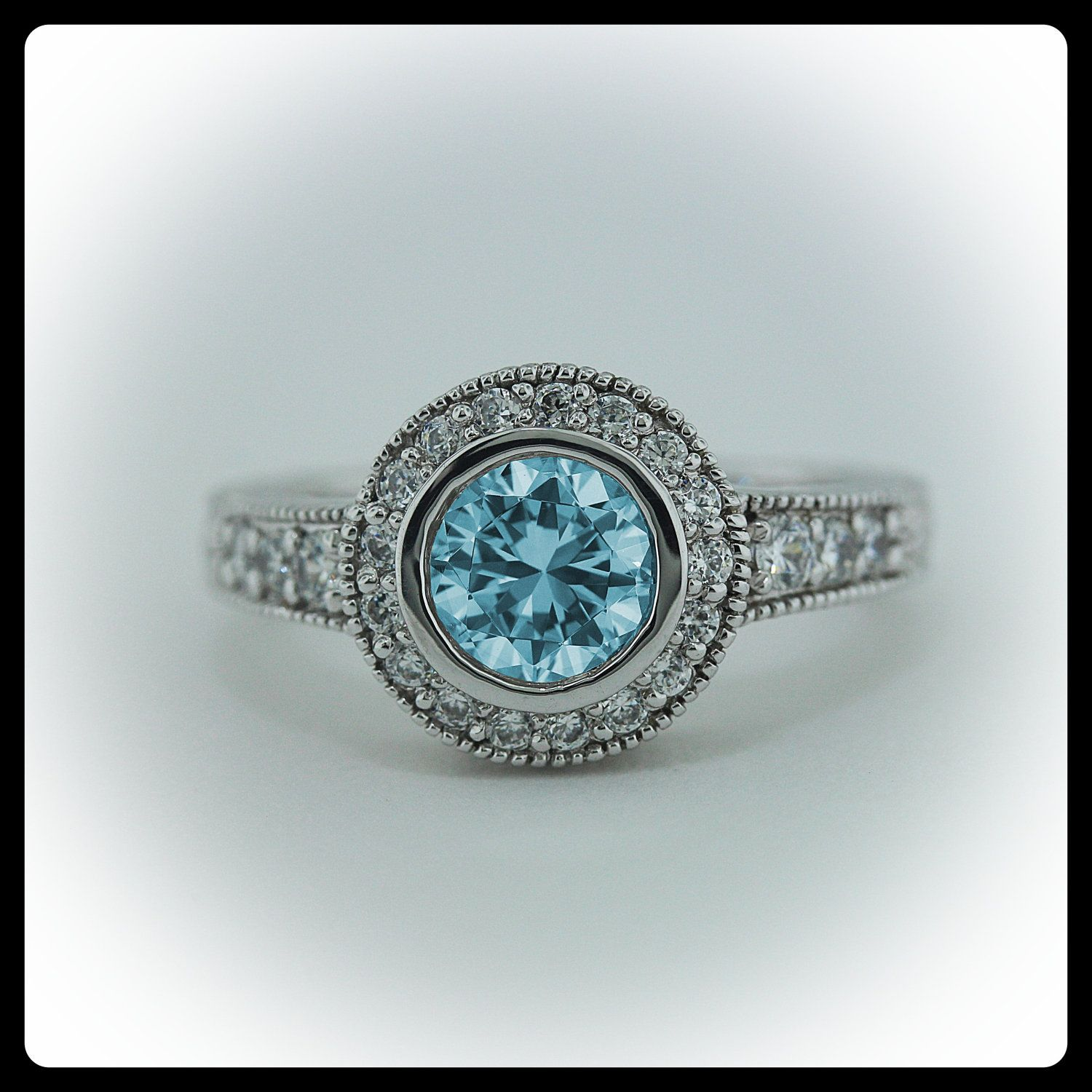 Aquamarine Engagement Ring Diamond Side Stones 14k Gold Ring
