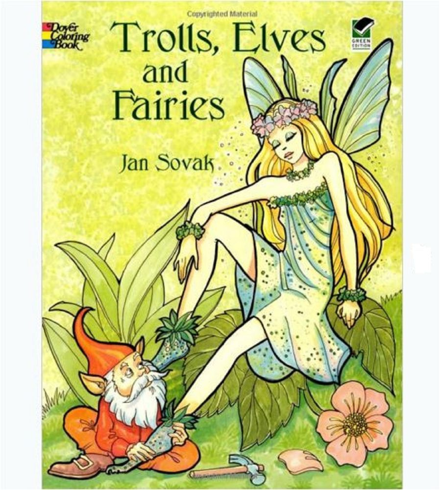Adults Coloring Book Trolls Elves Fairies Stress Relief Relax Design ...
