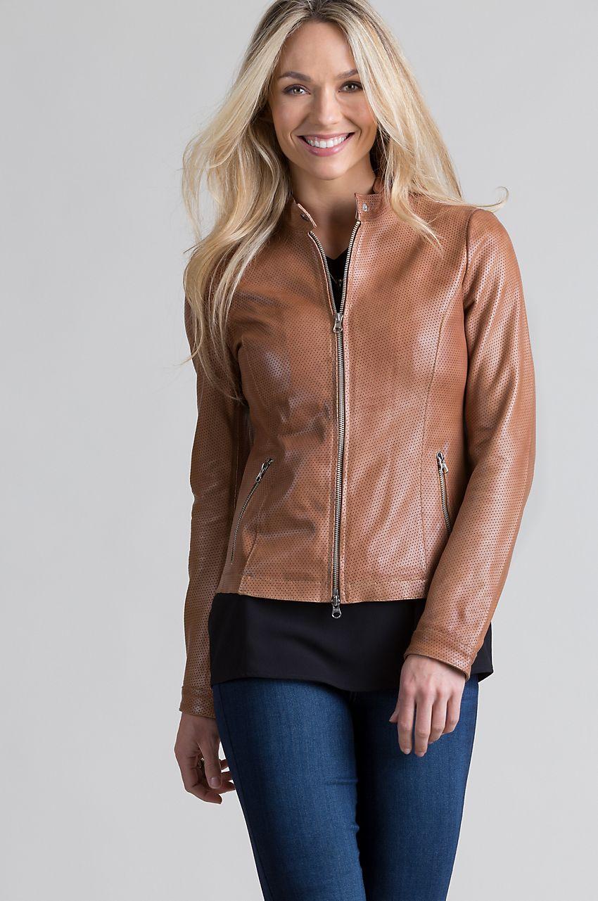 Stella Lambskin Leather Moto Jacket Overland Retro