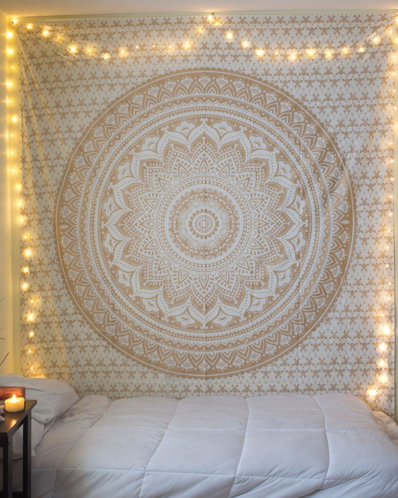 30 stylish diy tumblr room decorating ideas royal furnish - Small Golden Color Floral Trippy Ombre Medallion Mandala Wall Tapestry On Royalfurnish Com 15 85 Teen Bedroomsboho