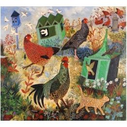 Feeding The Hens Art Naive Art Chicken Art