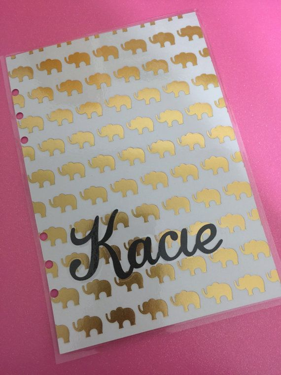 Lovely way to add something personal to you planner. This dashboard features gold foil elephants & personalised name $15