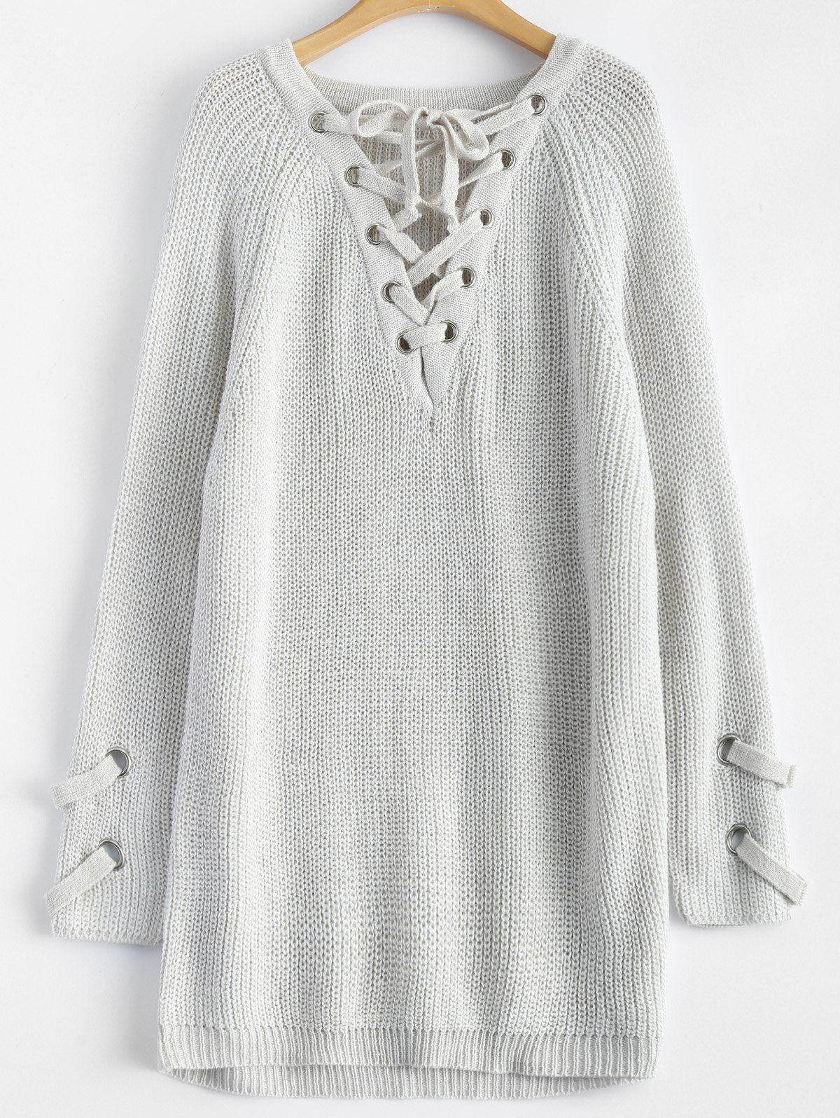 Lace-Up Chunky Longline Sweater in Light Grey  fb5be6680