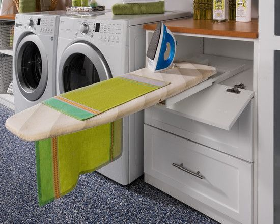 Laundry Room Design - pull out iron board