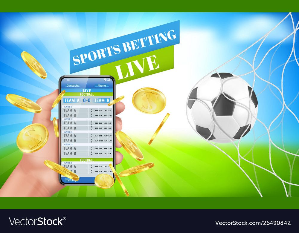 Sports betting banner live bet application service vector